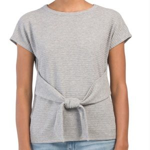 Tahari Gray Front Back Tie Short Sleeve Blouse